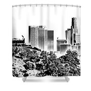 Griffith And Los Angeles Etched Shower Curtain