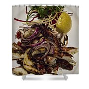 Griiled Fresh Greek Octopus Shower Curtain by David Smith