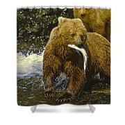Grizzly Bear And Cubs Shower Curtain