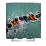 Group Swimming Technique During A Water Shower Curtain