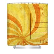 Grunge Ray On Old Postcard Shower Curtain