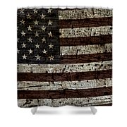 Grungy Wooden Textured Usa Flag2 Shower Curtain