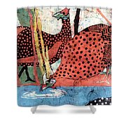 Guinea Fowl Drinking Shower Curtain