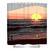 Gulls Enjoying Beach At Sunset Shower Curtain