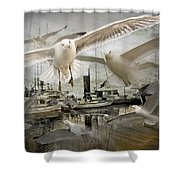 Gulls In The Harbor Shower Curtain