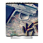 Gun And Bullets On Map Shower Curtain