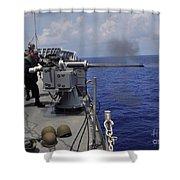 Gunner Fires A Mark 38 Machine Gun Shower Curtain