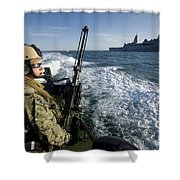 Gunner Mans A .50-caliber Machine Gun Shower Curtain
