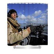Gunners Mate Mans An M2 Hb .50-caliber Shower Curtain