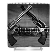 Guns In Black And White Shower Curtain