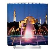 Hagia Sophia At Night Shower Curtain by Artur Bogacki