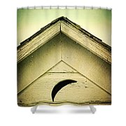 Half Moon On Rurual Outhouse Shower Curtain