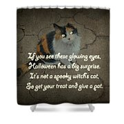 Halloween Calico Cat And Poem Greeting Card Shower Curtain