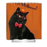 Halloween Card - Black Cat Ready To Party Shower Curtain