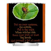 Halloween Card - Spider And Poem Shower Curtain