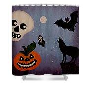 Halloween Night Original Acrylic Painting Placemat Shower Curtain