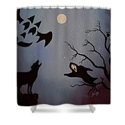 Halloween Night Party Original Painting Placemat Doormat Shower Curtain