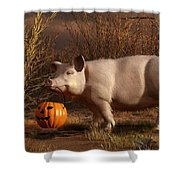 Halloween Pig Shower Curtain