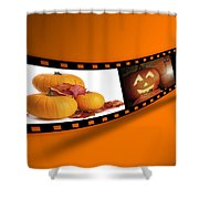 Halloween Pumpkin Film Strip Shower Curtain by Amanda Elwell