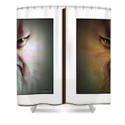 Halloween Self Portrait - Gently Cross Your Eyes And Focus On The Middle Image Shower Curtain