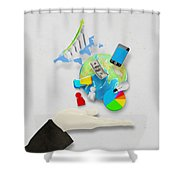 Hand And Globe On Hand Made Paper  Shower Curtain