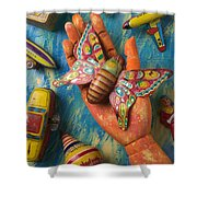 Hand Holding Butterfly Toy Shower Curtain