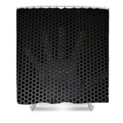 Hand On Metal Grating Shower Curtain