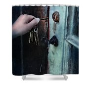 Hand Putting Vintage Key Into Lock Shower Curtain