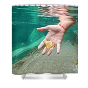 Hand Takes A Leaf Shower Curtain