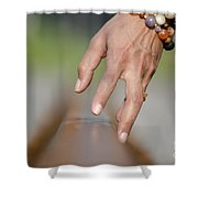 Hand Touching A Railroad Track Shower Curtain