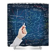Hand Writing Science Formulas Shower Curtain by Setsiri Silapasuwanchai