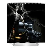 Handgun Bullets And Bullet Hole Shower Curtain