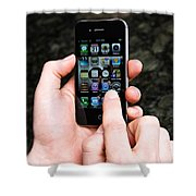 Hands Holding An Iphone Shower Curtain