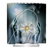 Hands With Atom In Capsule Shower Curtain