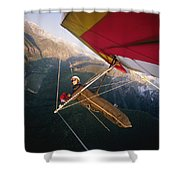 Hang Gliding With Wing-mounted Camera Shower Curtain