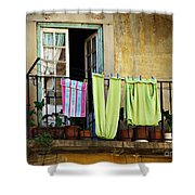 Hanged Clothes Shower Curtain by Carlos Caetano