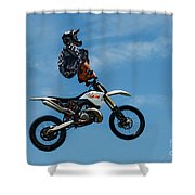 Hanging On Motorcycle Tricks  Shower Curtain