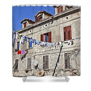 Hanging Out To Dry In Rovinj Shower Curtain
