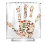 Hannah Hand Orange Shower Curtain