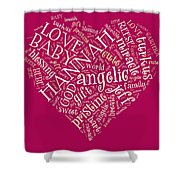 Hannah Heart Fuschia Shower Curtain