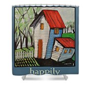 Happily Ever After White Picket Shower Curtain
