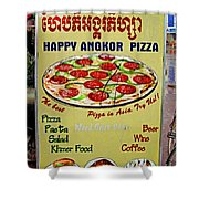 Happy Angkor Pizza Sign Shower Curtain
