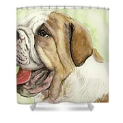 Happy Bulldog Shower Curtain