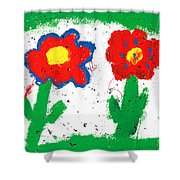 Happy Colorful Flowers Shower Curtain