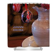 Happy Easter Poster Shower Curtain