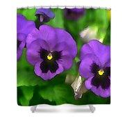 Happy Faces Purple Pansies Shower Curtain