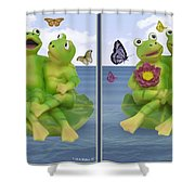 Happy Frogs - Gently Cross Your Eyes And Focus On The Middle Image Shower Curtain