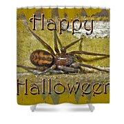 Happy Halloween Spider Greeting Card Shower Curtain