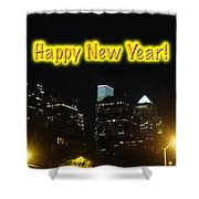 Happy New Year Greeting Card - Philadelphia At Night Shower Curtain