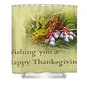 Happy Thanksgiving Greeting Card - Autumn Viburnum Berries Shower Curtain